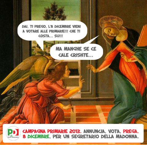 Grazie all'amico Sandro per l'illustrazione. Pensate già da ora alla scelta: l'arcangelo, la vergine o il bambinello?